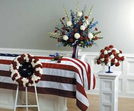 Red & White Patriotic funeral arrangements