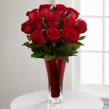 In Love with Red Roses Red Vase