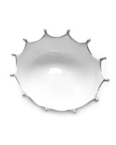Large White Crown Bowl