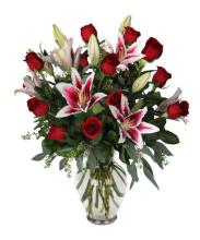 PINKS AND RED using ROSES AND LILIES