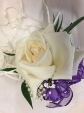 Open rose pin on Corsage