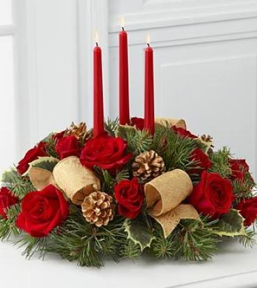 Christmas Centerpiece Red Roses