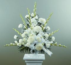 Traditional Funeral of All White Flowers