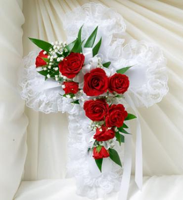 Red & White Satin Heart Casket Pillow