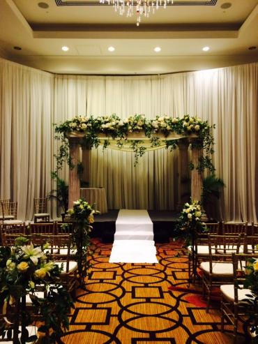 Full floral decor with material and flowers