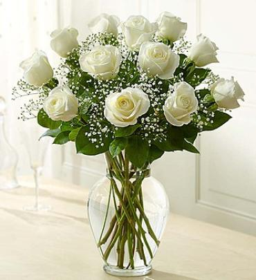 White Rose Elegance Premium Long Stem White Roses