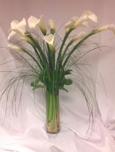 Tall Clylinder Vase White Calla
