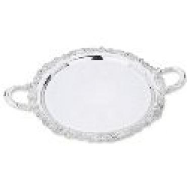 Burgundy Tray with Handles Silver