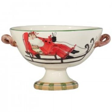 Vietri Old St. Nick footed bowl