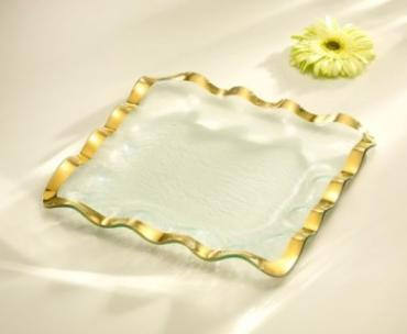 Ruffle Gold Square Tray