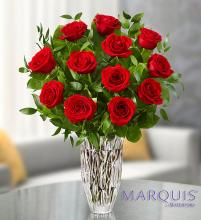 Crystal Vase with Premium Red Roses