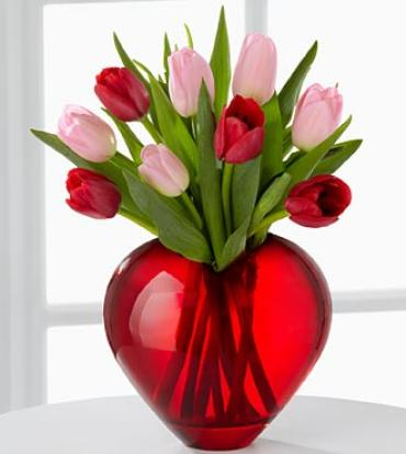 Season of Love Tulips in Heart Vase