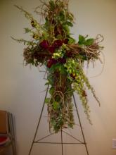 Grapevine Cross with Orchids & Roses