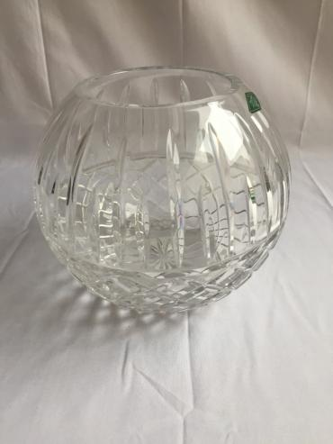 "Large Hand Cut crystal 8"" Rose Bowl"