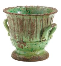 Rustic Garden Small Green Striped Planter
