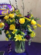 LSU purple and gold in cylinder