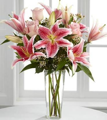 Simple Perfection Pink lilies and Roses