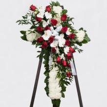 White Cross with orchids, lilies and roses