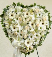 All White flowers Heart